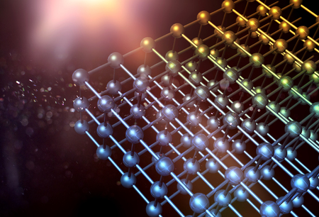 Nanotechnology particle 3D structure grid with atoms and bindings on dark background 版權商用圖片