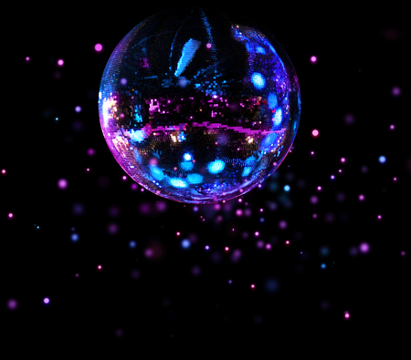 Colorful disco mirror ball flying light spots background 版權商用圖片