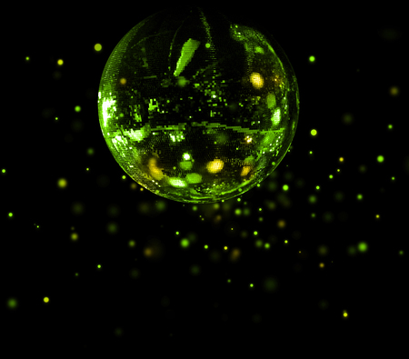 Colorful disco mirror ball flying green light spots background