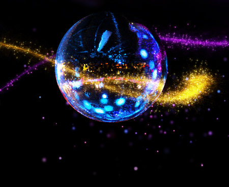 Colorful disco mirror ball sparkling light stream background 版權商用圖片