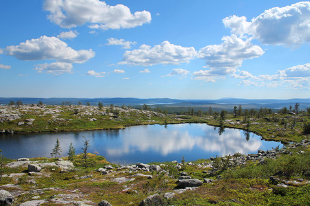 Small pond reflecting blue sky and white clouds on Särkitunturi fell top in Muonio, Lapland, Finland
