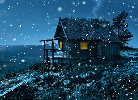 Santa Claus secret cottage on Lapland fell top in first winter cold and snowfall 版權商用圖片