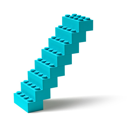 Steep toy building block blue stairs isolated