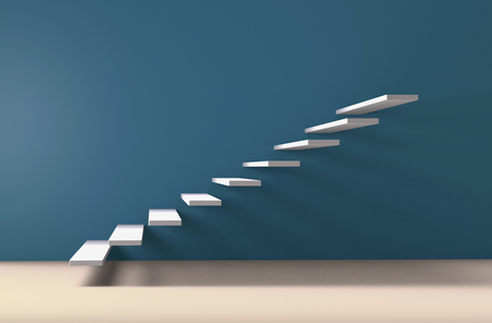 White stairs steps on gallery style wall rising upward 3D illustration