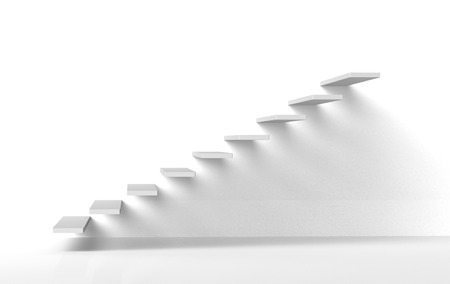 White stairs steps on white gallery style wall rising upwards 3d