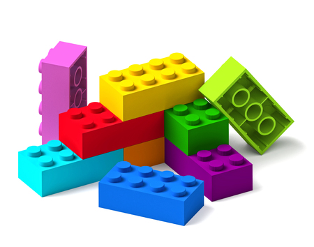 Starting to build from rainbow color building toy blocks 3D isolated on white background