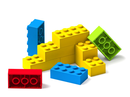 Starting to build something from colorful building toy blocks 3D isolated on white