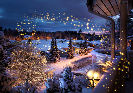 Snowy Christmas street magical winter feeling scenery seen from balcony 版權商用圖片
