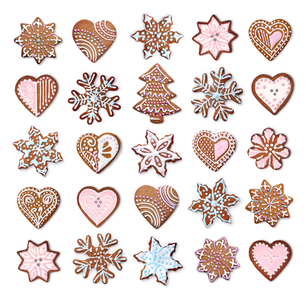 Home made Christmas gingerbread cookies icing decoration collection isolated on white 版權商用圖片