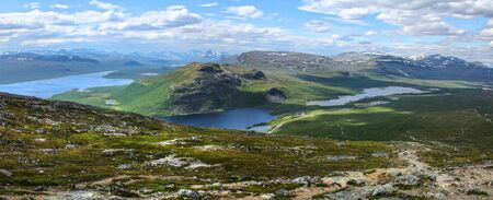 Dramatic panorama from Saana fell top to North in Finnish Lapland