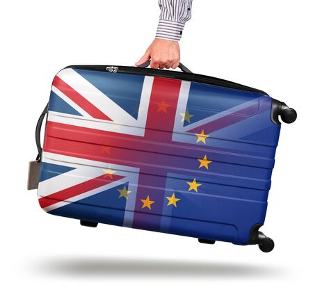 Hand holding modern suitcase Union Jack design. leaving EU isolated on white Brexit concept Imagens