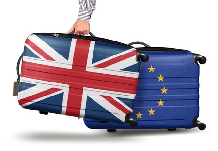 Hand holding modern suitcase Union Jack design. leaving EU isolated on white Brexit concept 版權商用圖片