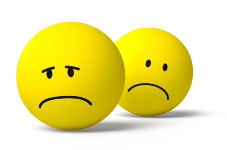Two yellow round 3D emoji symbols sad and unhappy icons together on white background, drop shadow