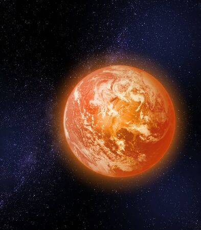 Too hot planet Earth, global warming climate change concept