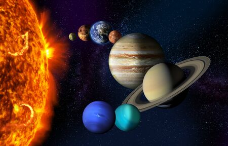 Sun and the planets of our Solar system on starry space background.
