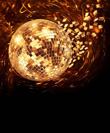 Vintage disco mirror ball spinning and breaking into golden flying glass pixel fragments on dark background