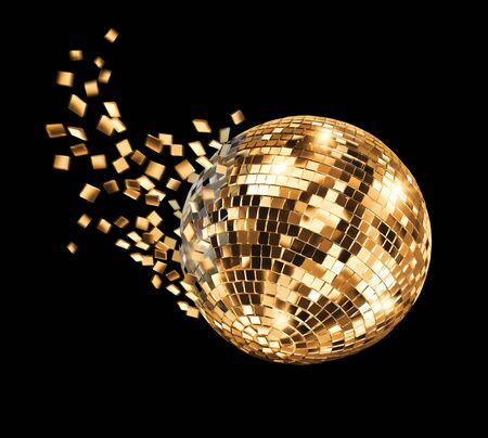 Vintage disco mirror ball breaking into golden flying glass fragments on black background