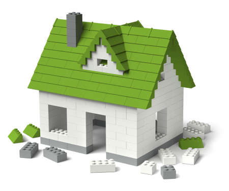 Building ecological home concept, an individual house of plastic toy building blocks 3D construction isolated on white background