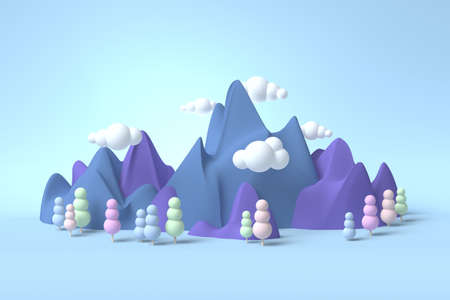 Childhood fantasy world dream landscape 3d with soft forms and pastel colors