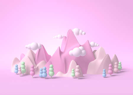 Childhood fantasy world dream landscape 3d with ice cream mountains and marsmallow trees and clouds Standard-Bild