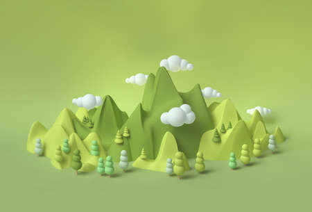 Childhood fantasy world dream green landscape 3d with soft forms and pastel colors, environmental concept