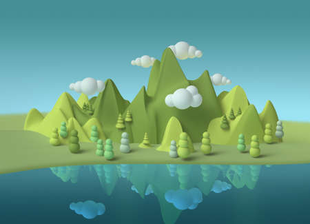 Fantasy world dream green mountains blue lake landscape 3d with soft forms, environmental concept