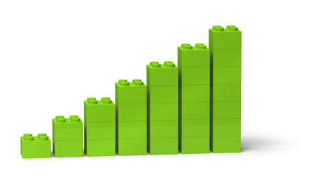 Bar chart diagram with green color showing steady growth 3d, isolated on white Standard-Bild