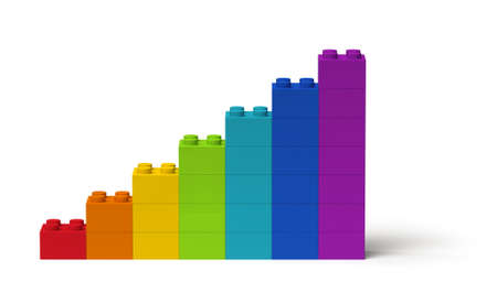 Bar chart diagram with rainbow colors showing steady growth 3d, isolated on white