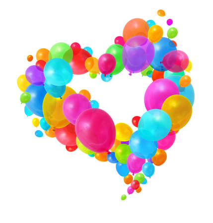 Colorful balloons flying in heart shape formation on white background