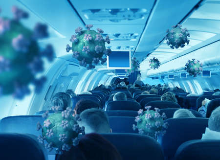 Airborne viruses with passengers travelling in airplane cabin interior economy class
