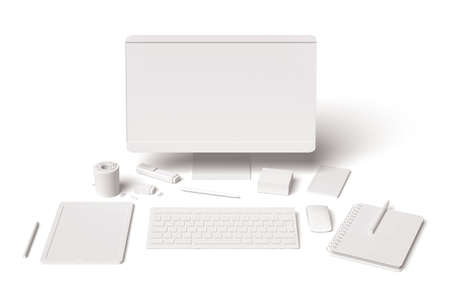 Blank essential office supplies, technology and accessory equipment dummies set 3D on white background