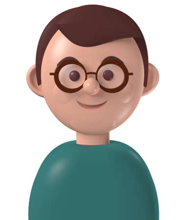 Cartoon character 3d avatar happy young man with brown hair and glasses, isolated on white Standard-Bild