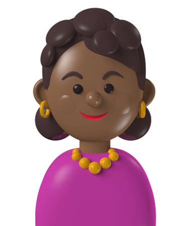 Cartoon character 3d avatar young curly haired black woman isolated on white Standard-Bild