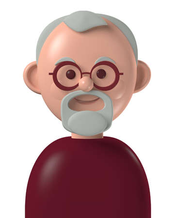 Cartoon character 3d avatar happy older caucasian man with grey beard, isolated on white background