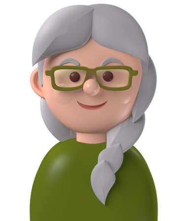 Cartoon character 3d avatar old grey haired caucasian woman isolated on white