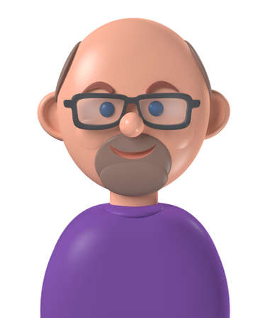 Cartoon character 3d avatar middle age happy bald white man with beard, isolated on white