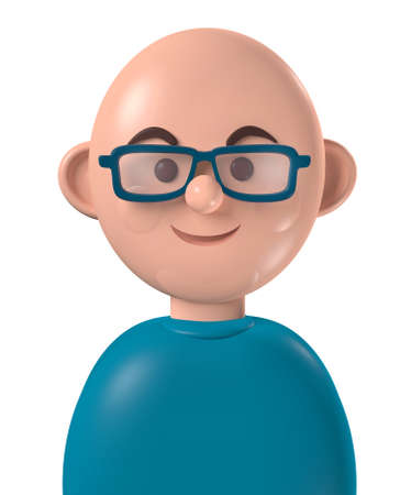 Cartoon character 3d avatar happy young bald white man with glasses, isolated on white Standard-Bild