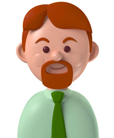 Cartoon character 3d avatar caucasian business man with red hair and beard, isolated on white