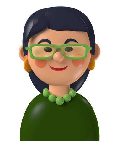 Cartoon character 3d avatar asian business woman with glasses, isolated on white