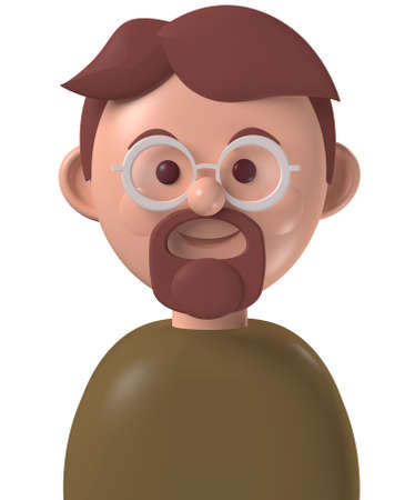 Cartoon character 3d avatar middle age happy caucasian man with beard and glasses, isolated on white Standard-Bild