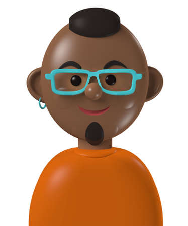 Cartoon character 3d avatar young or middle age happy black man isolated on white
