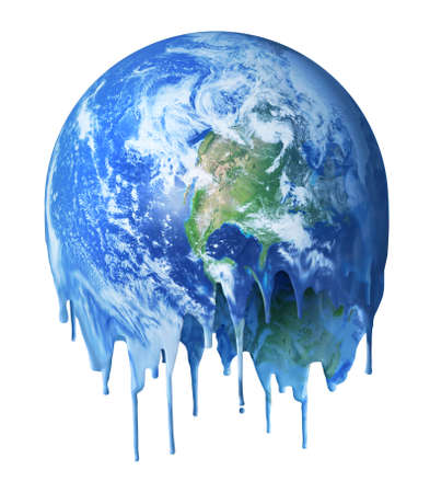 Melting hot and dripping unhabitable planet Earth, global warming climate change concept