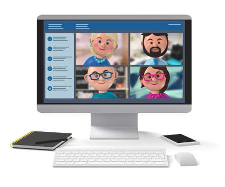 Happy members of remote business team meeting online on desktop application 3d character illustration
