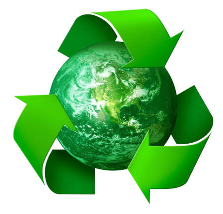 Three arrows symbol around green planet Earth, recycling concept 3d , isolated on white background