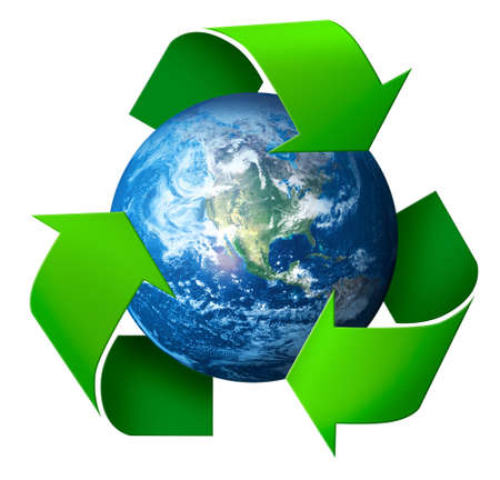 Recycling concept 3d symbol arrows around green planet Earth, isolated on white background