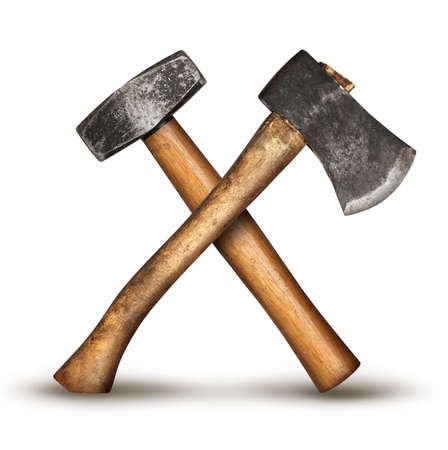 Realistic DIY old hammer and axe tools crossed, isolated on white background