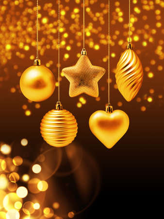 Golden Christmas decoration elements with gold bokeh and light spots on dark background