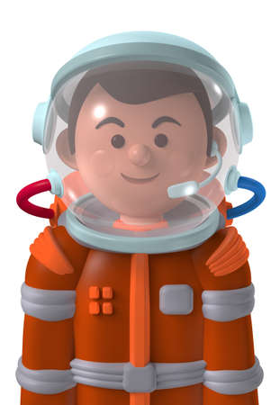 Cartoon character 3d avatar happy male Mars astronaut in spacesuit isolated on white