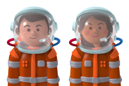 Cartoon character 3d avatar happy male and female Mars astronauts in spacesuits isolated on white Standard-Bild