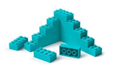 Toy building blocks 3D construction structure starting, progress concept